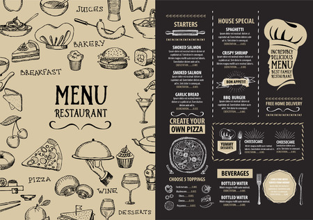 design template: Restaurant cafe menu, template design. Food flyer. Illustration