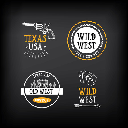 old west: Wild west badges design. Vintage western elements.