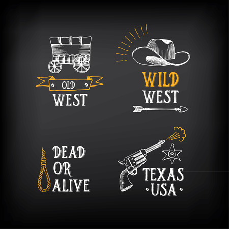 western: Wild west badges design. Vintage western elements.