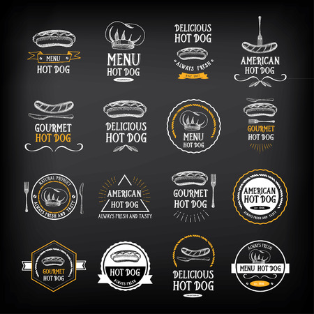 menu restaurant: Hot dog badges and menu design elements.