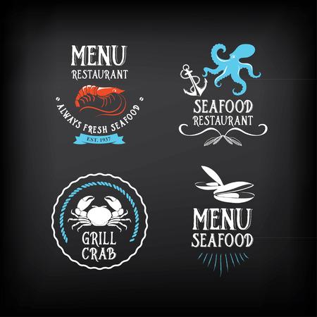 pulpo: Menú de mariscos y insignias elementos de diseño.