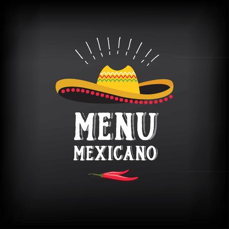 mexican sombrero: Menu mexican logo and badge design. Illustration
