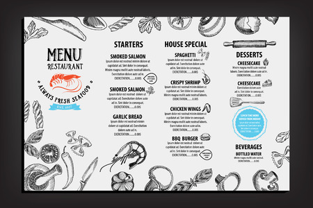 logo de comida: Men� de cafeter�a restaurante, dise�o de la plantilla. Folleto de Alimentos.