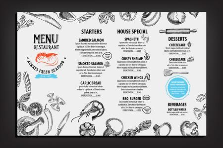 seafood dinner: Restaurant cafe menu, template design. Food flyer. Illustration