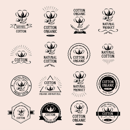 cotton: Cotton badges design, organic product.