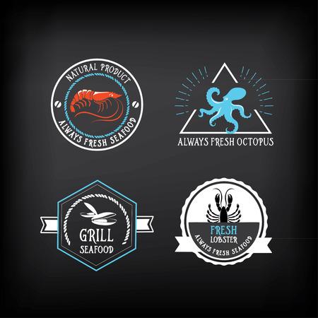 mariscos: Menú de mariscos y insignias elementos de diseño.