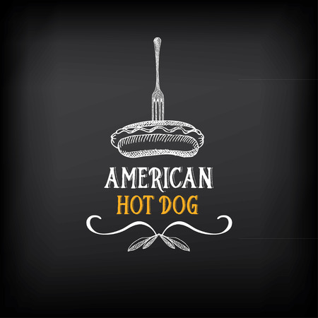 perro caliente: Insignias de perros calientes y elementos de diseño de menú.
