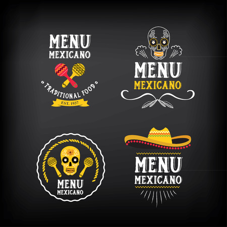 sombrero de charro: Logo mexicano Menú y diseño de la insignia.