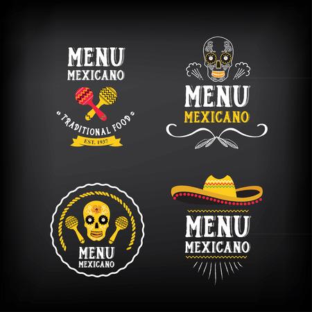 Menu mexican logo and badge design. Çizim