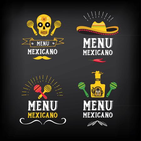 logos restaurantes: Logo mexicano Menú y diseño de la insignia.