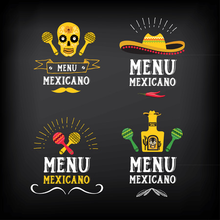 Menu mexican logo and badge design. Çizim