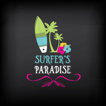 ヴィンテージの要素をサーフィンします。レトロなロゴ ボード。ハワイのビーチの波のバナーです。