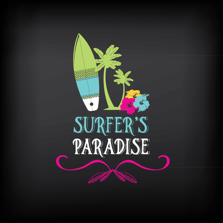 surf silhouettes: Surf vintage elements. Retro logo board. Hawaii beach wave banner.