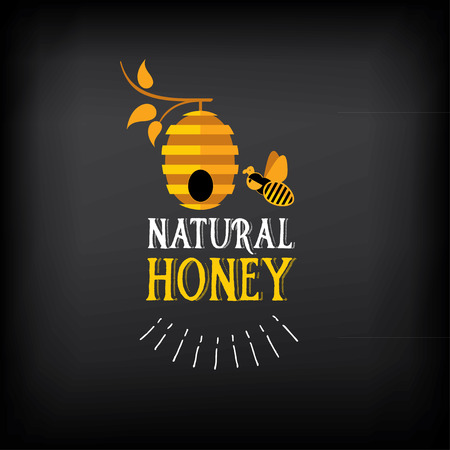 Insigne miel et l'étiquette. La conception d'abeille abstrait. Banque d'images - 43455613