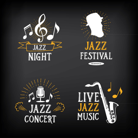 retro music: Jazz music party logo and badge design. Illustration