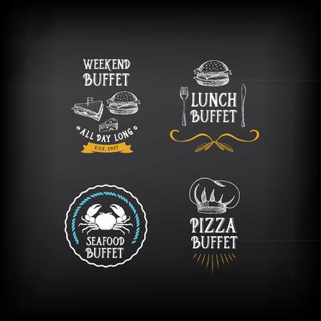 you can: Menú Buffet, el diseño del restaurante. Todo lo que puedas comer. Vectores