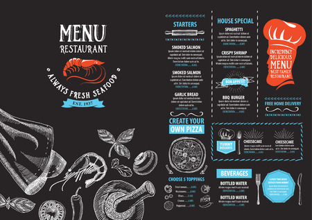 cafe: Restaurant cafe menu, template design. Food flyer. Illustration