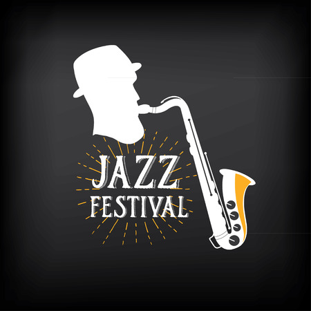 music banner: Jazz music party logo and badge design. Illustration
