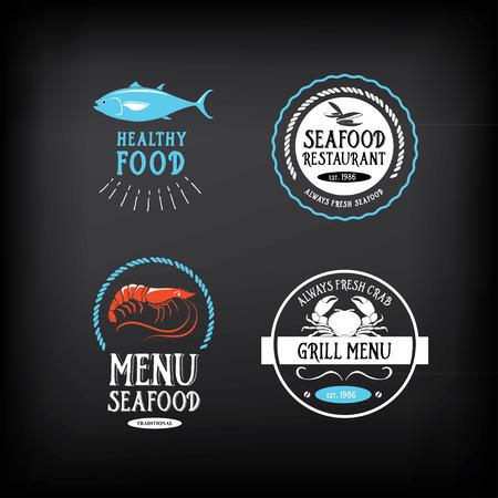 seafood dinner: Seafood menu and badges design elements.