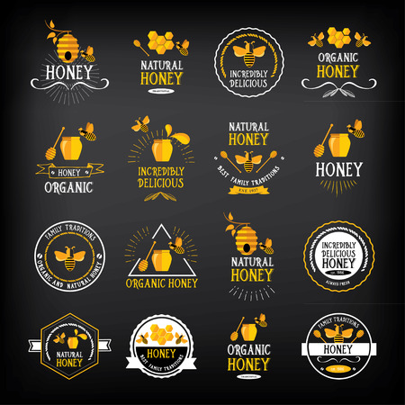 honey bees: Honey badge and label. Abstract bee design.