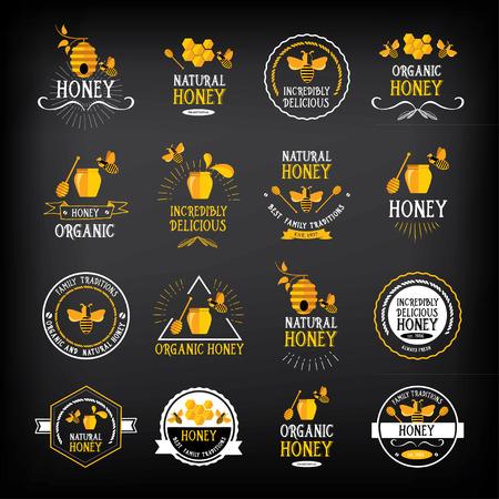 abejas: Insignia de la miel y la etiqueta. Diseño de la abeja abstracta. Vectores