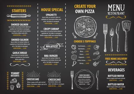 레스토랑 카페 메뉴, 템플릿 디자인. 식품 전단지.