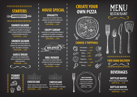 blackboard background: Restaurant cafe menu, template design. Food flyer. Illustration
