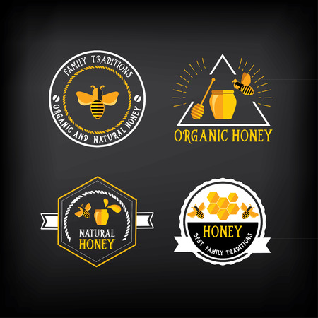 honey pot: Honey badge and label. Abstract bee design.