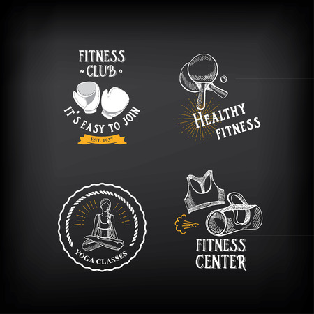 fitness center: Gym and fitness club logo design, sport badge.