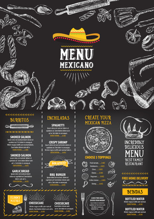 mexicans: Restaurant cafe menu, template design. Food flyer. Illustration