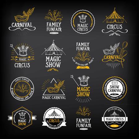 circo: Circo y el diseño de carnaval vintage, elementos de la etiqueta.