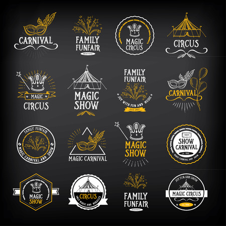 festival: Circus and carnival vintage design, label elements. Illustration