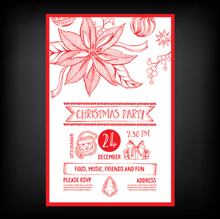 dinner food: Christmas party invitation. Holiday card. Vector template with graphic.
