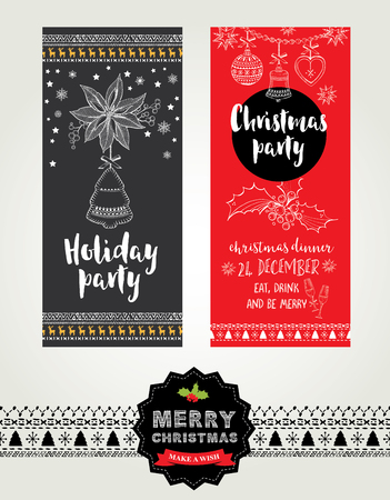 christmas cooking: Christmas party invitation. Holiday card. Vector template with graphic.