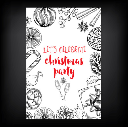 christmas dinner party: Christmas party invitation. Holiday card. Vector template with graphic.