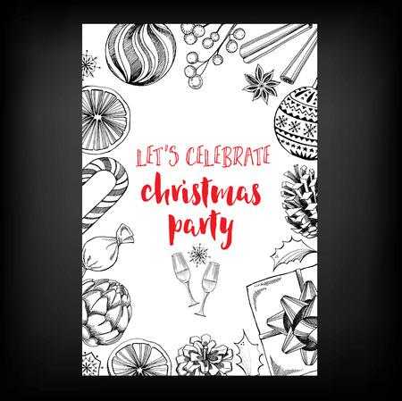 Invito a una festa di Natale. Holiday card. Modello di vettore con il grafico. Archivio Fotografico - 46039007