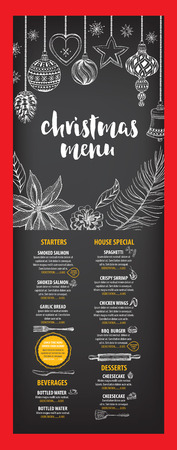 christmas party: Christmas party invitation restaurant, menu design. Vector template with graphic. Illustration