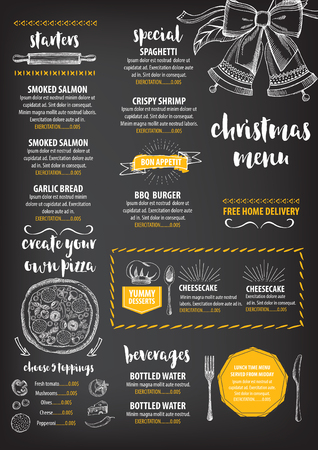christmas dinner party: Christmas party invitation restaurant, menu design. Vector template with graphic. Illustration
