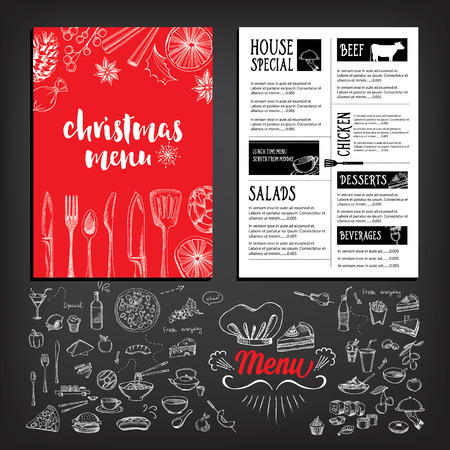 xmas background: Christmas party invitation restaurant, menu design. Vector template with graphic. Illustration