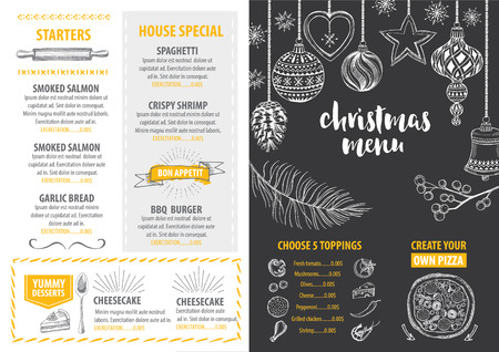 restaurant menu: Christmas party invitation restaurant, menu design. Vector template with graphic. Illustration