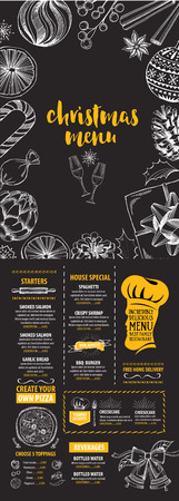christmas menu: Christmas party invitation restaurant, menu design. Vector template with graphic. Illustration