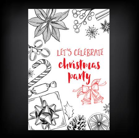 vacanza: Invito a una festa di Natale. Holiday card. Modello di vettore con il grafico.