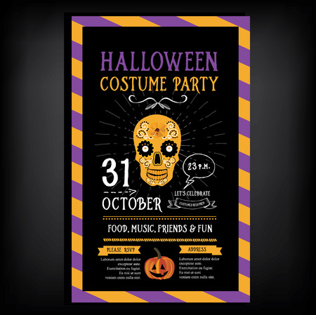 poster design: Halloween party invitation. Holiday card. Vector template with graphic.