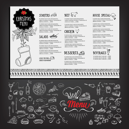 menu restaurant: Christmas party invitation restaurant, menu design. Vector template with graphic. Illustration