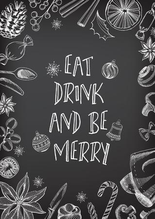 Weihnachtsparty Einladung Restaurant, Menü-Design. Vektor-Vorlage mit Grafik.