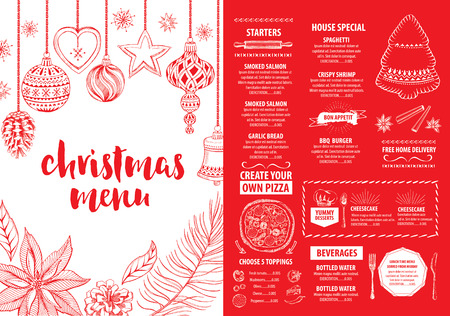 Christmas party invitation restaurant, menu design. Vector template with graphic. 矢量图像