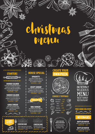 menu: Christmas party invitation restaurant, menu design. Vector template with graphic. Illustration