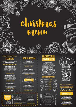 cena navide�a: Restaurante invitaci�n de la fiesta de Navidad, dise�o del men�. Modelo del vector con el gr�fico.
