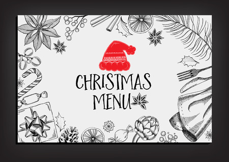 Christmas party invitation restaurant, menu design. Vector template with graphic. 일러스트