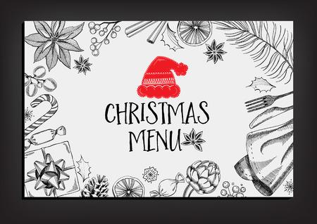 Kerst restaurant partij uitnodiging, menu ontwerp. Vector sjabloon met grafische.